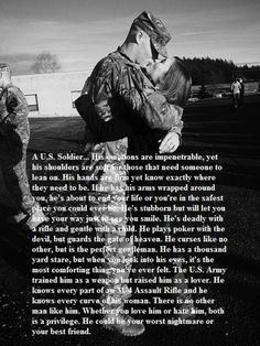 """My Marine yes, it says """"U. Army Soldier"""" in the reading, but everything is true about my Marine. Army Quotes, Military Quotes, Soldier Quotes, Army Sayings, Military Couples, Military Love, Military Deployment, Deployment Quotes, Military Dating"""