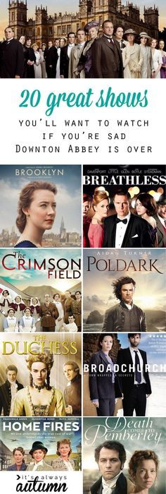 Looking for something new to watch now that Downton Abbey is over? 20 more great shows like Downton (period pieces, British TV) + a link to 60 more! de Film more shows to watch now that Downton Abbey is over Shows On Netflix, Netflix Movies, Movie Tv, Kid Movies, Movies Showing, Movies And Tv Shows, Period Piece Movies, Masterpiece Theater, Tv Series To Watch