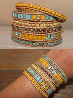This wrapbracelet can wrap 6 times. The bracelet is made from leather cord and beautiful Miyuki Picasso beads With 4 button closures, size Wrap Bracelet Tutorial, Bracelet Wrap, Gypsy Bracelet, Beaded Wrap Bracelets, Jewelry Bracelets, Trendy Jewelry, Boho Jewelry, Beaded Jewelry, Jewellery