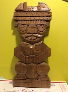 Vtg Large Hawaiian Tiki God Wood Carving Native Aztec King Sculpture Art Asian…