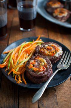 Vegetable Stuffed Steak Rolls with Balsamic Glaze