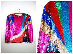AMAZING Vibrant Sequin Top // Geometric Sequined Blouse by braxae