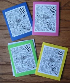Paisley Zentangle Note Cards from WannaTangle on @Etsy! $8.50