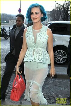 Katy Perry in sheer #mint green outfit #ghdcandy