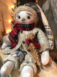 Excited to share the latest addition to my shop: Snowball-Handmade Snowman-Primitive Snowman-Vintage Style Snowman-Snowman Doll-Folk Art Snowman-Vintage Quilt-Gingerbread Wooden Snowmen, Primitive Snowmen, Primitive Folk Art, Primitive Christmas, Country Christmas, Primitive Crafts, Christmas Tree Wreath, Christmas Snowman, Christmas Decor