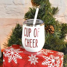 """These wine tumblers are the perfect holiday gift for any wine lover!! Also works great for a nice warm coffee or a cozy hot chocolate.Listing is for (1) 12 oz. double walled stainless steel tumbler with straw featuring a vinyl decal to show off your """"Cup of Cheer"""".Gift box not included. Please feel free to message me if you have any questions!💜💜Lexie Cheer Gifts, Holiday Gifts, Christmas Gifts, Christmas Vinyl, Christmas Kitchen, Vinyl Tumblers, Custom Tumblers, Vinyl Ornaments, Christmas Tumblers"""