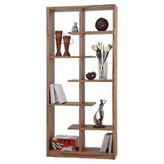 """Contemporary bookcase with a walnut finish.  Product: BookcaseConstruction Material: MDFColor: Light walnutFeatures:  Can also act as a display case or room dividerFive alternating partial shelves allow you to elevate books and belongingsFully finished on all sides Dimensions: 62.2"""" H x 41.7"""" W x 12"""" D"""