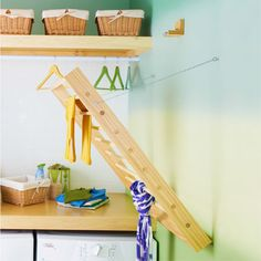 Build and mount a convenient pullout rack for drying delicate and hand-washed items.