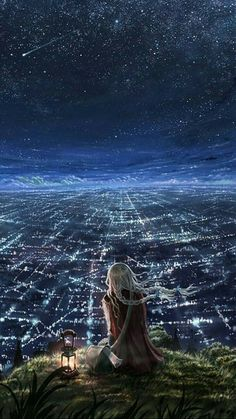 Find images and videos about art, anime and sky on We Heart It - the app to get lost in what you love. Anime Kunst, Anime Art, Anime Pokemon, Sf Wallpaper, Kawaii Wallpaper, Anime Scenery, Night Skies, Night Clouds, Oeuvre D'art