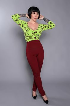 Laura Byrnes California Eva Pant in Wine Ponte - New Arrivals - New | Pinup Girl Clothing