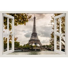 Window Frame Mural Eiffel Tower Seine Huge size Peel and