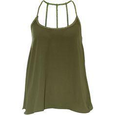 Rare London Plait Strap Vest Top ($11) ❤ liked on Polyvore featuring tops, shirts, tank tops, haut, tanks, khaki, strap tops, braided tank, strap tank top e woven tank top