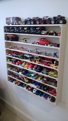 Hot Wheels Matchbox Cars Monster Trucks Legos by ThomasRacks, Hot Wheels Storage, Toy Car Storage, Hot Wheels Display, Matchbox Car Storage, Truck Storage, Garage Storage, Boys Room Decor, Kids Bedroom, Big Boy Bedrooms