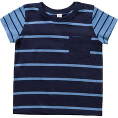 Boost his everyday basics collection with the Boys Stripe Pocket Tee from Dymples. Crafted from pure cotton for maximum softness against the skin, this T shirt boasts short sleeves, a crew neckline and press studs to shoulders for easy dressing. A patch pocket to chest and all over stripe print provides the finishing touches to this must-have style.