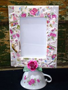 Mosaic Picture Frame with Vintage Teacup by 2ndTimeAroundMosaics❤❤❤