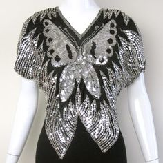 1980s Sequin Butterfly Top S now featured on Fab.