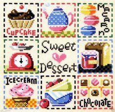 """Sweet dessert"" Counted cross stitch chart. SODAstitch SO-3101"
