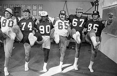 Nov. 5, 1975: Members of the Los Angeles Rams take time out from practice to rehearse a dance for the upcoming Champions vs. Multiple Sclerosis dinner at the Century Plaza. From left are linemen Bob Klein, Merlin Olsen. Larry Brooks, Tom Mack, Bill Nelson and Jack Youngblood. Photo by Robert Lachman / Los Angeles Times Photographic Archive