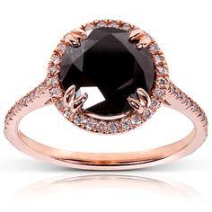 Gold Rings | Black Diamond Rose Gold Ring