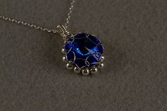 Blue Crystal Rivoli Pendant by PiccolinaJewelry on Etsy, $37.00