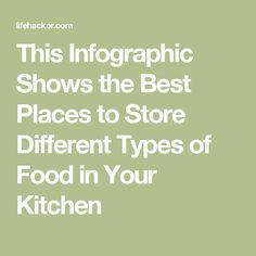 This Infographic Shows the Best Places to Store Different Types of Food in Your Kitchen Different Types, Types Of Food, Kitchen Hacks, Food Storage, Cooking Tips, The Good Place, Good Things, Store, Infographics