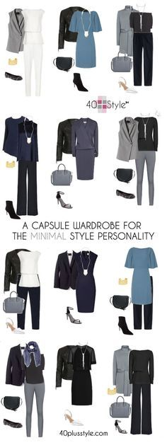 How to create your own capsule wardrobe for the minimalist style personality. Sample outfits and rules to style your own minimalist capsule wardrobe. Capsule Wardrobe Work, Capsule Outfits, Fashion Capsule, Mode Outfits, Fashion Outfits, Womens Fashion, Office Wardrobe, Work Wardrobe Essentials, Wardrobe Basics