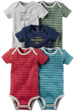 0688ac6a6a8 Carter s Baby Boy 5-pk. Short Sleeve Mommy  amp  Daddy Striped Bodysuits  Striped