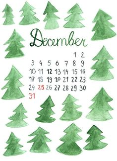handpainted december calendar. perfect for a desktop wallpaper!