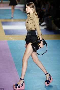 All eyes on the model: Gigi has been strutting up a storm during fashion week season...
