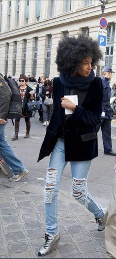 Denim Muse Julia Sarr Jamois  #streetstyle #velvet #jacket
