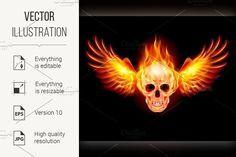 Flaming Skull. Human Icons