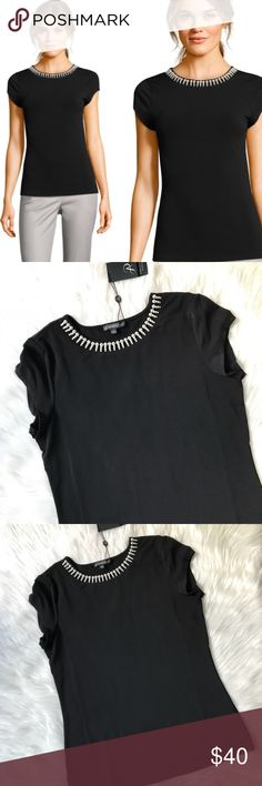 NWT Adrianna Papell black SS top with pearl neck Gorgeous statement top with cap sleeves and a faux pearl necklace detail around the neckline. Adrianna Papell Tops
