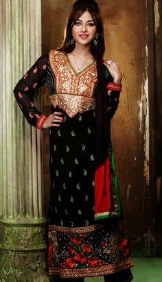 Shop Indian Designer black Georgette #ChuridarKameezAnarkaliDresses Product code: KPW-36096 Price: INR4819 (Unstitch Suit), Color: Black Shop Online now: http://www.efello.co/Salwar-Kameez_Indian-Designer-Green-Georgette-Churidar-Kameez-Anarkali-Dresses,-Dress_4526