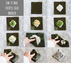 Chickpea (Tuna-less) Salad Onigirazu - La Fuji Mama Vegetarian Recepies, Veggie Recipes, Sushi Recipes, Hiking Food, Backpacking Food, Japanese Dishes, Japanese Food, Tuna Fish Sandwich, Vegan Sushi