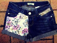 Floral Studded Denim Shorts