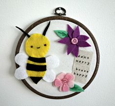 Don't worry beeee happy  cute felt bumblebee and by MombiAndTed