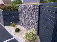 Outdoor Walls, Outdoor Living, Gabion Wall, Backyard Landscaping, Fence, Entrance, Patio, Pretty, Recherche Google