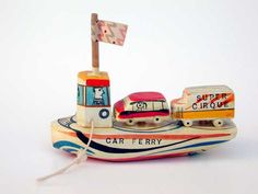 Artfully painted and modelled toy car ferry by English painter, sculptor and visual artist Sam Smith (1908-1983), as seen at sam-smith.org/