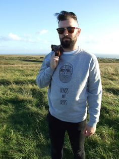 Grey Beards Not Beers jumper with screen printed hand drawn design