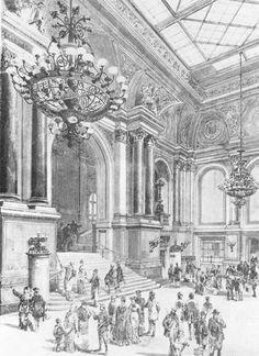 Empfangshalle des Anhalter Bahnhofs ca 1880 (zu diesem Zeitpunkt mit einer Hoehe von 34,25 m die hoechste in Deutschland)