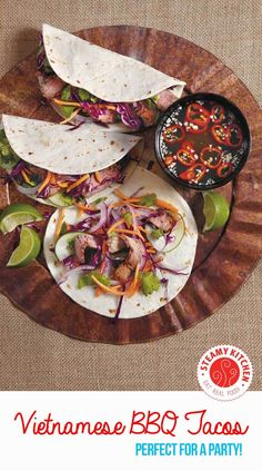 Vietnamese BBQ Tacos Recipe from Celebrity Chef David Guas, host of Travel Channel's American Grilled show. ~ http://steamykitchen.com