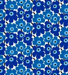 Marimekko Coated Fabric Mini Unikko in Royal Blue on Coated Marimekko Fabric, Flower Prints, All The Colors, Handmade Items, Pottery, Shapes, Mini, Floral, Blog