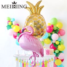 Pineapple Balloons Flamingos and Fruits - Celebrat : Home of Celebration, Events to Celebrate, Wishes, Gifts ideas and more ! Flamingo Party, Flamingo Birthday, Balloon Arch Diy, Balloon Decorations, Bachelorette Party Desserts, 10th Birthday Parties, Party Decoration, Tropical Party, Luau Party