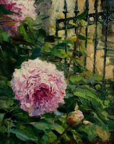 Personal site of artist Azat Galimov. Flowers and Fruits Artist Painting, Garden Art, Peonies, Painting Flowers, Fruit, Flower Art, Fence, Florals, Paintings