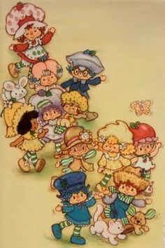 Strawberry Shortcake and Friends Strawberry Shortcake Characters, Vintage Strawberry Shortcake, Vintage Cartoon, Vintage Toys, Rainbow Brite, American Greetings, My Childhood Memories, Orange Blossom, Copics