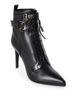 Sergio Rossi Black Pointed Toe Leather Lace-Up Booties
