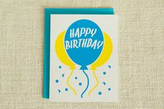 Balloons Birthday Card by FMCstudio. Screen printed by hand.