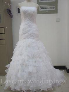 Strapless ruched memraid organza wedding by Loveannaweddingdress, $305.00