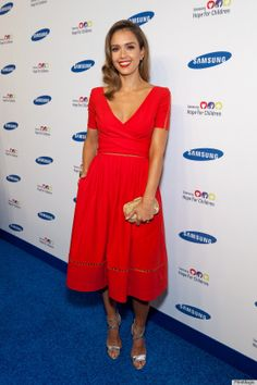 jessica alba -- LOVE the bright red, classic cut of this dress!! Gilded details...