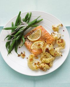 Roasted Salmon with Spicy Cauliflower - uses (optional) anchovy fillets for flavor!  Anchovies are a great way to add some healthy flavor and Omega-3's to a dish.